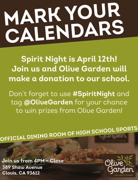 Promo: Olive Garden dinner fundraiser for campus athletics, April 12 ...