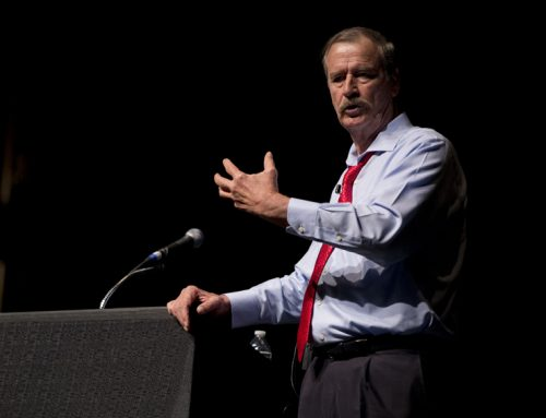 President Vicente Fox of Mexico presents at SJV town hall