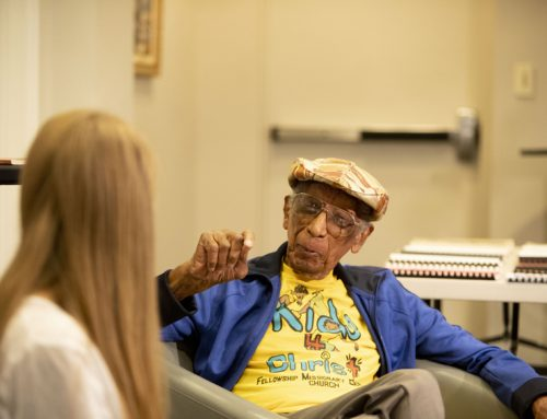 WWII veteran Dr. Fitzalbert Marius encourages students toward service