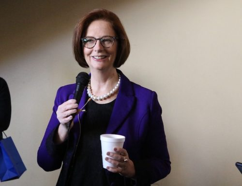 Former Australian Prime Minister Julia Gillard speaks at SJV Town Hall