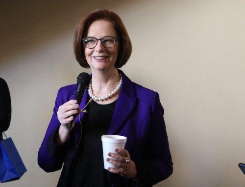 Former Australian Prime Minister Julia Gillard speaks at SJV Town Hall